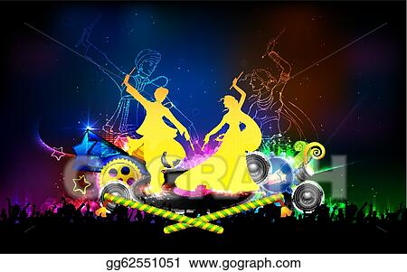 Vector Illustration Poster For Dandiya Night Eps