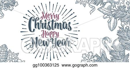 poster horizontal merry christmas happy new year calligraphy lettering
