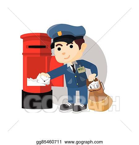 vector stock postman taking mail clipart illustration gg85460711