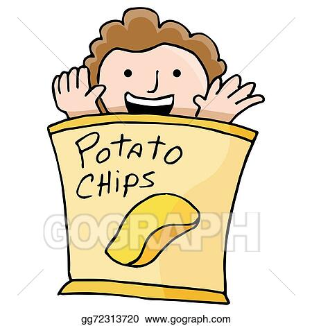 vector art potato chip kid clipart drawing gg72313720 gograph rh gograph com  eating potato chips clip art
