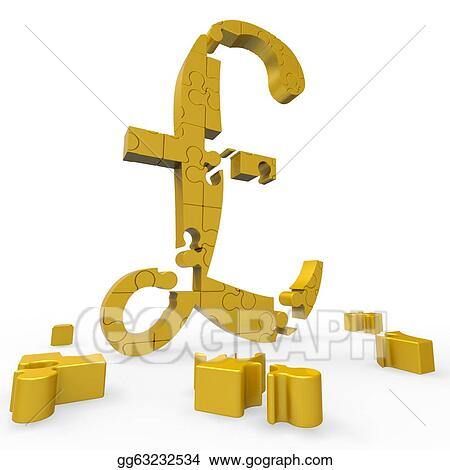 Clip Art Pound Symbol Shows Money And Investments Stock