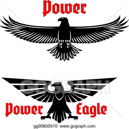 Eps Vector Power Eagle Icon Or Heraldic Bird Symbols Set Stock