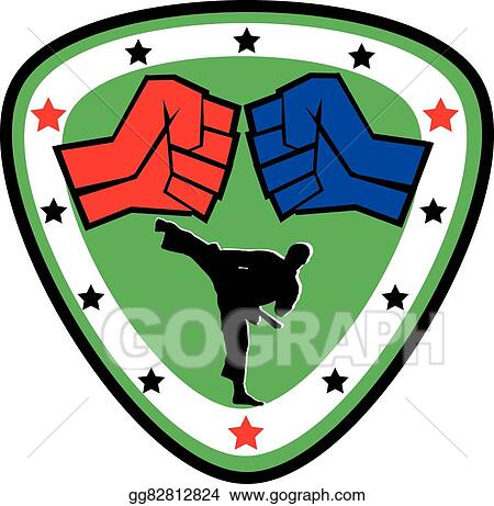 vector illustration power fist mma karate boxing logo stock rh gograph com