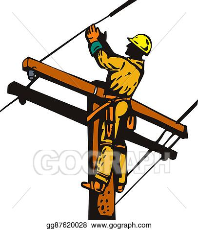 stock illustration power lineman electrician clipart gg87620028 rh gograph com offensive lineman clipart lineman clipart black and white