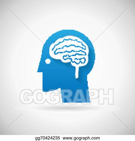 Vector Art Power Of Intelligent Symbol Head With Brain Silhouette