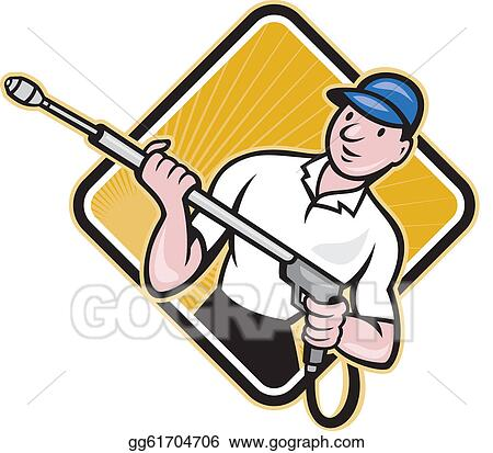 vector stock power washing pressure water blaster worker clipart rh gograph com pressure washing logo clip art Pressure Washing Logo Design