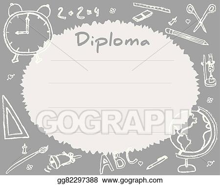 preschool elementary school kids diploma certificate background design template school diploma drawn in chalk