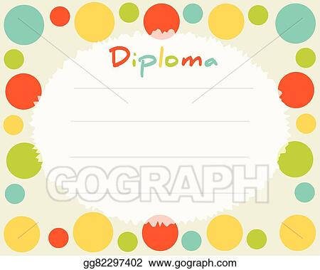 preschool elementary school kids diploma certificate background design template school diploma frame with colored circles