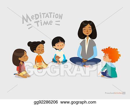 Vector Art - Preschool female teacher and smiling kids