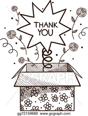 Vector Art Present Box With Thank You Sign Clipart Drawing