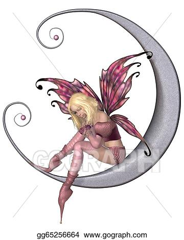 Drawing Pretty Pink Moon Fairy Clipart Drawing Gg65256664 Gograph