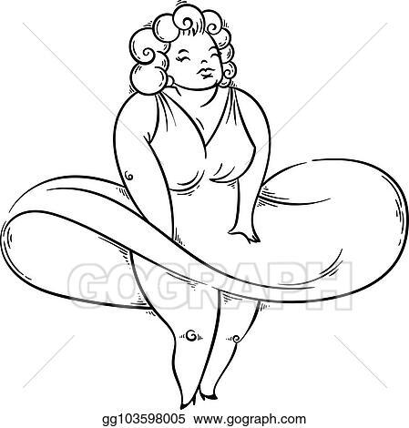 Vector Illustration Pretty plump woman posing like a