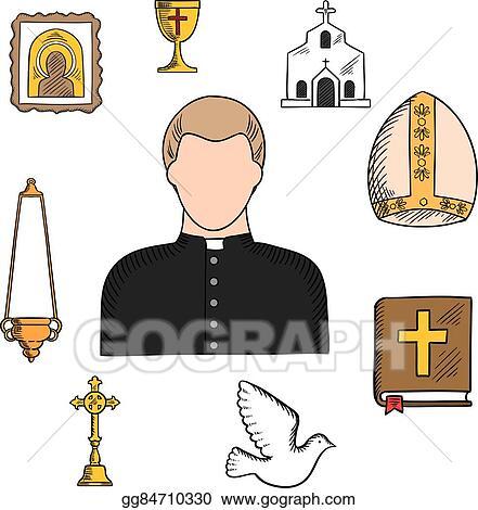 Vector Illustration Priest Profession With Religious Symbols Eps