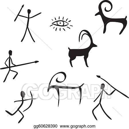 Eps Illustration Primitive Figures Looks Like Cave Painting Rh Gograph Com