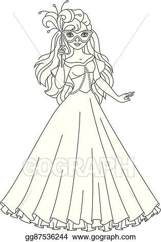 Vector Art Princess Masquerade Coloring Page Eps Clipart