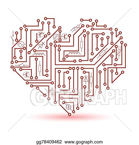 EPS Illustration - Printed red electrical circuit board heart symbol ...
