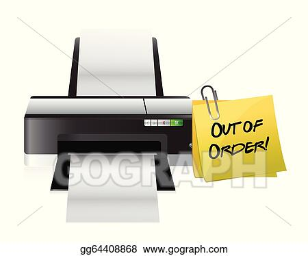 Vector Illustration Printer Out Of Order Post Eps Clipart