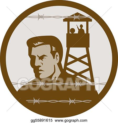 Stock Illustration - Prisoner of war in a concentration camp with ...