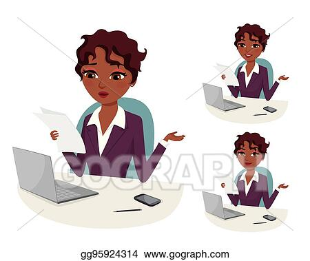 Vector Art Professional Career Powerful Woman Overwhelmed With Bureaucratic Work Clipart Drawing Gg95924314 Gograph