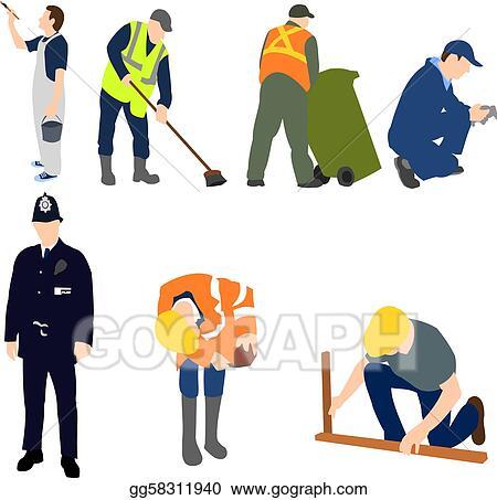 vector illustration professions men at work set 01 eps clipart