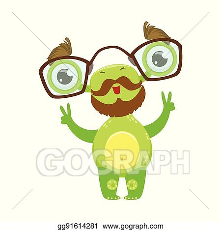 Vector Stock - Professor funny monster with beard and