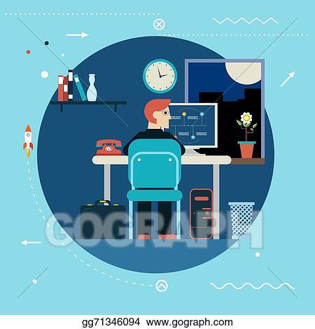 Programming And Web Development Concept Symbol Programmer Works At Work  Desk Home Icon On Stylish Background Modern Flat Design Template Vector  Illustration