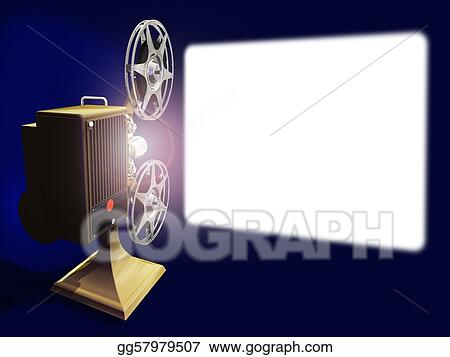 Stock Illustration Projector Film And White Screen