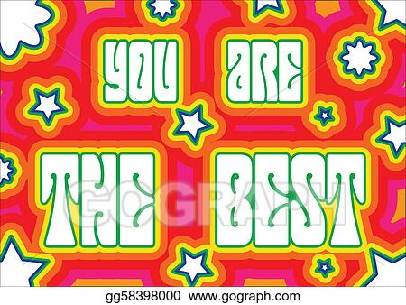 vector art promo placard with words you are the best decorated