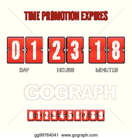 Vector Stock - Promotions expires, analog flip clock timer  template