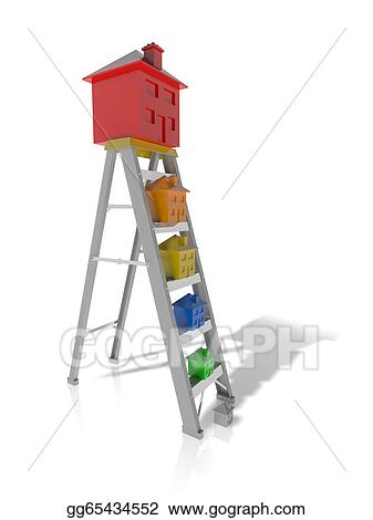 drawing concept of moving up the property ladder clipart drawing gg65434552