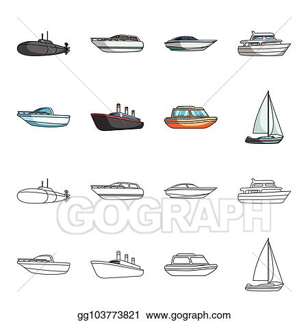 Eps Vector Protection Boat Lifeboat Cargo Steamer Sports Yacht Ships And Water Transport Set Collection Icons In Cartoon Outline Style Vector Symbol Stock Illustration Web Stock Clipart Illustration Gg103773821 Gograph