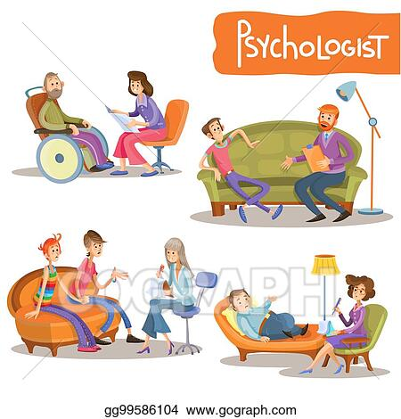 Vector Clipart Psychologist Private Practice Cartoon Vector Set