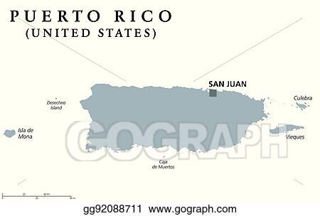 Eps Vector Puerto Rico Political Map Stock Clipart Illustration