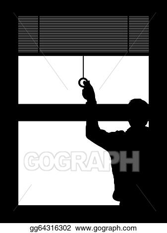 pull down blinds grey pulling down the blinds stock illustration blinds clipart illustrations