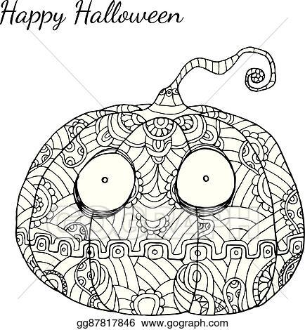 Eps Vector Pumpkin Zentangle In Halloween Stock Clipart Illustration Gg87817846 Gograph