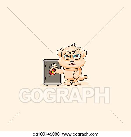 Vector Art - Puppy dog sticker emoticon safecrack with money