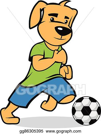 Vector Art Puppy Participate On A Soccer Game Clipart Drawing Gg86305395 Gograph