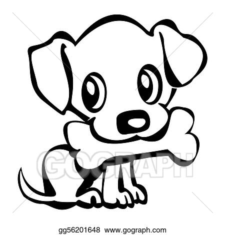 Stock Illustration Puppy with bone Clipart Drawing gg56201648