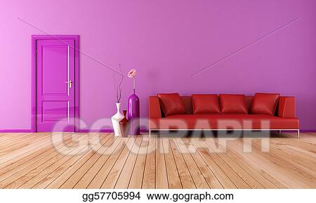 Stock Illustration - Purple and red living room. Clipart ...