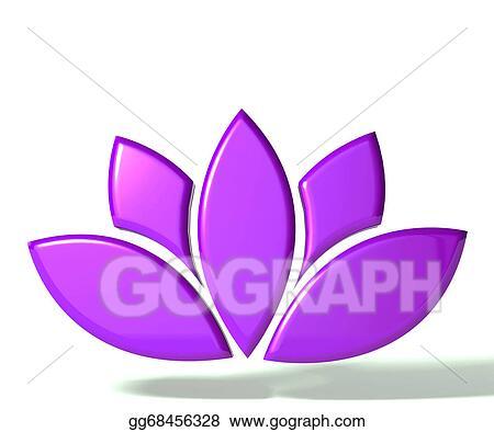 Stock Illustration Purple Lotus Flower 3d Image Clipart Drawing