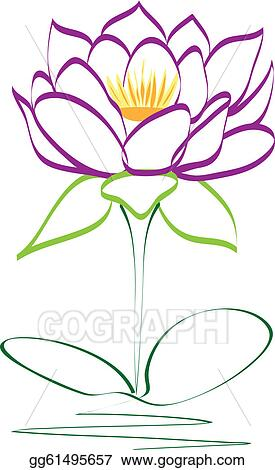 Vector Art Purple Lotus Flower Vector Clipart Drawing Gg61495657