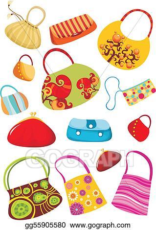 eps illustration purse set vector clipart gg55905580 gograph rh gograph com Purse Silhouette Clip Art Purse Template Clip Art