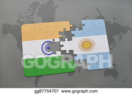 Drawing Puzzle With The National Flag Of India And Argentina On - Argentina map from india