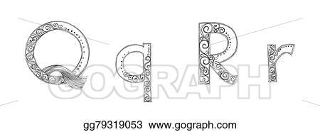 Stock Illustration - Q r vanda freehand pencil sketch font
