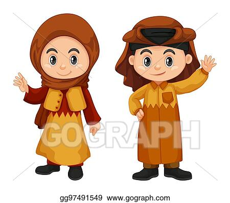 Vector Art - Qatar kids in traditional costume  EPS clipart