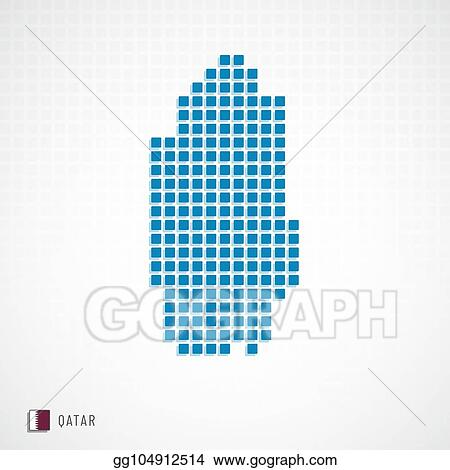 Vector Art - Qatar map and flag icon. Clipart Drawing ...