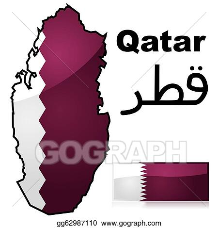 Vector Clipart - Qatar map and flag. Vector Illustration ...