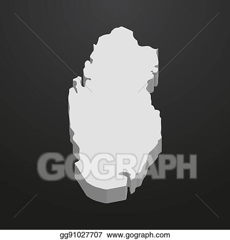 Vector Clipart - Qatar map in gray on a black background 3d ...