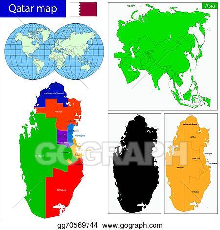 Vector Clipart - Qatar map. Vector Illustration gg70569744 - GoGraph