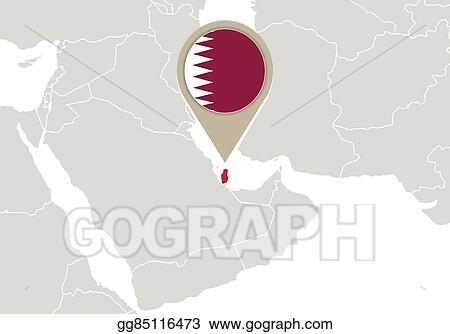 Vector Art Qatar On World Map Clipart Drawing Gg85116473 Gograph